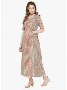 Varanga Taupe Printed Kurta with White solid pants