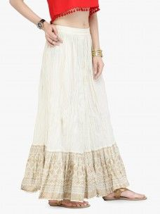Varanga Off White Cotton Gold Skirts