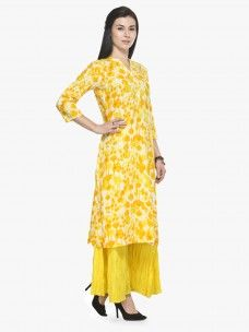 Varanga Yellow Rayon Printed Kurta