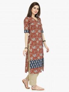 Varanga Maroon Cambric Printed Kurta