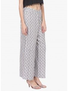 Varanga Black And White Printed Rayon Straight Palazzo