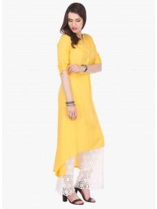 Varanga Yellow Printed Rayon Chinese/Mandarin Collar 3/4 Sleeve A Line Kurta