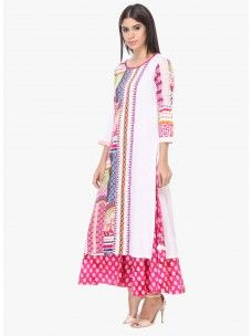 Varanga White And Multi Printed Cotton Round Neck 3/4 Sleeves Straight Kurta