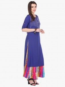 Varanga Blue Embroidered Rayon Round Neck 3/4 Sleeve Straight Kurta