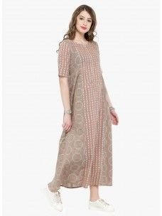 Varanga Taupe Printed Dress