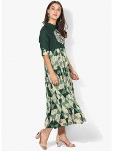 Varanga Green Printed Dress