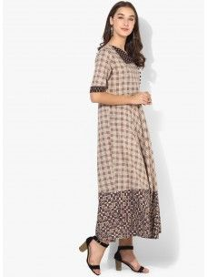 Varanga Taupe Printed Dress
