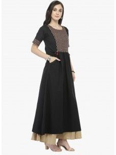 Varanga Black Solid Kurta with Beige Solid Palazzo
