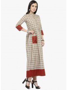 Varanga Beige Printed Dress