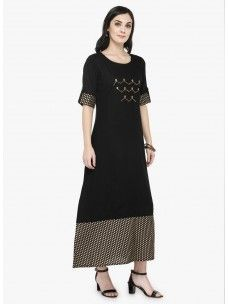 Varanga Black Gold Printed Dress
