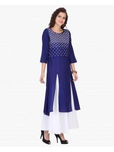Varanga Blue Rayon Embroidered Kurta
