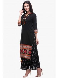 Varanga Black Cotton Embroidered Kurta