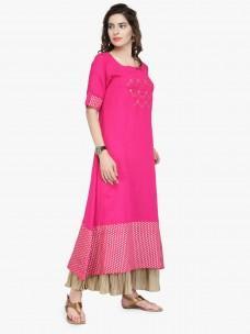 Varanga Pink Cotton Gold Zari Embroidery Dress
