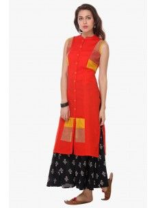 Varanga Orange Cotton Embroidered Kurta