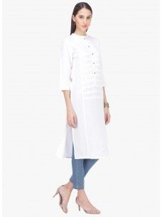 Varanga White Rayon Solid/Plain Kurta