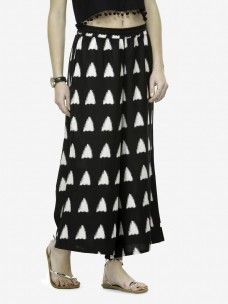 Varanga Black and White Printed Cotton Cambric Straight Palazzo