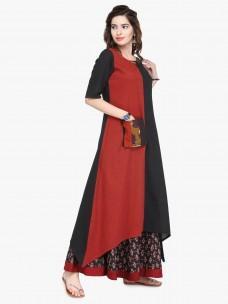Varanga Black Cotton Colour Block Dress