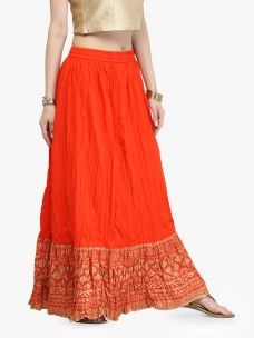 Varanga Orange Pure Cotton Gold Skirts