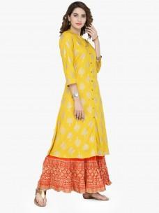 Varanga Mustard viscose Gold Print Kurta With Skirt