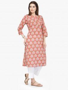 Varanga Peach Pure Cotton Printed Kurta With Pant