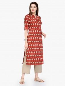 Varanga Red Pure Cotton Printed Kurta With Pant