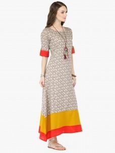 Varanga Grey Viscose Rayon Printed Dresses
