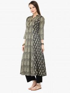Varanga Khaki Viscose Rayon Embroidery Kurta