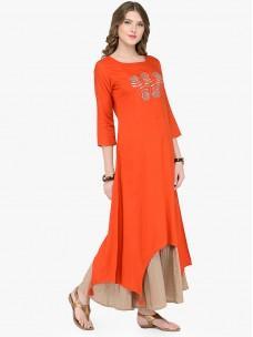 Varanga Orange Viscose Rayon Embroidery Kurta
