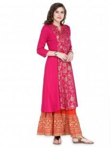 Varanga Pink Viscose Rayon Gold Print Kurta With Skirt