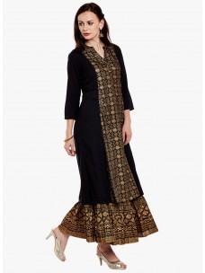 Varanga Black Viscose Gold Print Kurta With Skirt