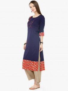 Varanga Blue Viscose Rayon Embroidery Kurta With Pants