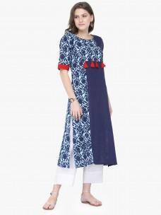 Varanga Blue Cotton Printed Kurta