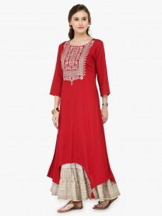 Varanga Red Viscose Rayon Zari Embroidery Kurta With Skirt