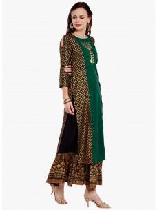 Varanga Green Cotton Blend Embroidery Kurta With Skirt