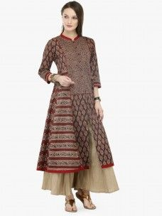 Varanga Brown Cotton Printed Kurta