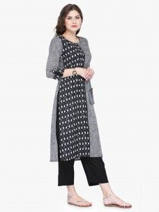 Varanga Grey Cotton Embroidery Kurta