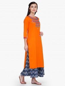 Varanga Orange Embroidred Rayon Round Neck 3/4 Sleeves Straight Kurta