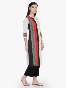 Varanga White Multicolor Printed 3/4 Sleeves Straight Kurta With Pant
