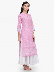 Varanga Pink Printed Cotton Mandarin Collar 3/4 Sleeves Straight Kurta