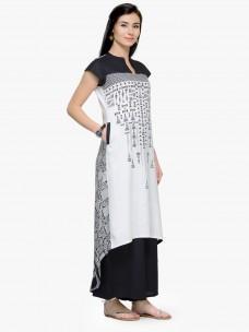 Varanga Black and White Printed Cap Sleeves A Line Kurta