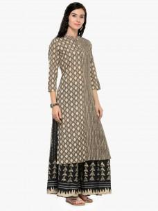 Varanga Grey Printed 3/4 Sleeves Straight Kurta with Palazzo