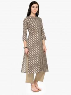 Varanga Grey Printed Cotton 3/4 Sleeves Straight Kurta With Pant