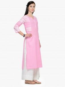 Varanga Pink Printed Mandarin Collar 3/4 Sleeves Straight Kurta