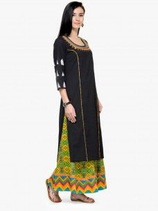 Varanga Black Embroidred 3/4 Sleeves Straight Kurta with Palazzo