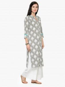 Varanga Grey Printed 3/4 Sleeves Straight Kurta