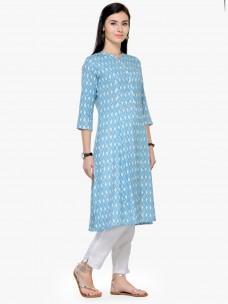 Varanga Blue Printed Mandarin Collar 3/4 Sleeves A Line Kurta