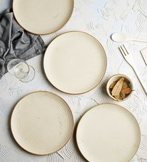 Miah Decor Ribbed Cream Stoneware Dinner Plates - Set of 4 & Buy Dining Plates Online at Best Price India