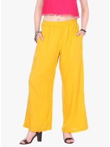 Varanga Yellow Solid/Plain Rayon Straight Palazzo