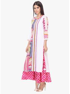 Varanga White And Multi Printed Cotton Round Neck 3/4 Sleeves Straight Kurta