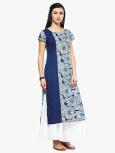 Varanga Indigo Cambric Printed Kurta